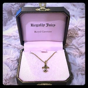 Juicy Couture Gold Fleur De Lis Wish Necklace